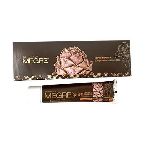 Hambapasta «MEGRE» mündi eeterliku õli ja seedriõliga, 60 ml. (pruuni värvi)